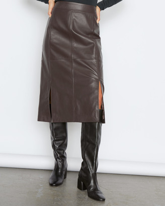 Jigsaw Leather Split Midi Skirt