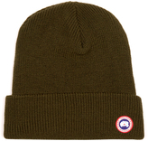 Canada Goose Logo-appliqué ribbed-knit wool beanie hat