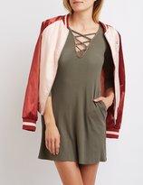 Charlotte Russe Ribbed Lattice Shift Dress