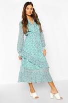 boohoo Floral Print Tie Neck Detail Midaxi Dress