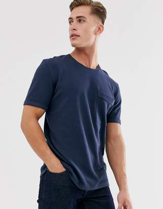 Selected boxy fit t-shirt in ribbed cotton-Navy