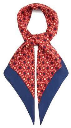 Gucci GG Logo-print Silk Scarf - Womens - Red Multi
