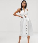 Asos DESIGN Tall halter neck midi button through linen sundress with buckle