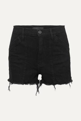 3x1 Jason Wu Paneled Frayed Denim Shorts - Black