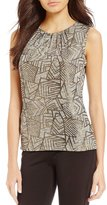 Calvin Klein Metallic Geometric Print Knit Jersey Pleat Neck Shell
