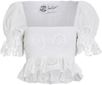 Charo Ruiz Ibiza Brigitte Embroidered Crop Top