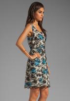 Anna Sui Hydrangea Branch Print Georgette and Lace Dress in Black/Cream Multi