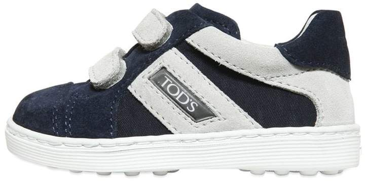 Tod's Two Tone Strap Suede Sneakers