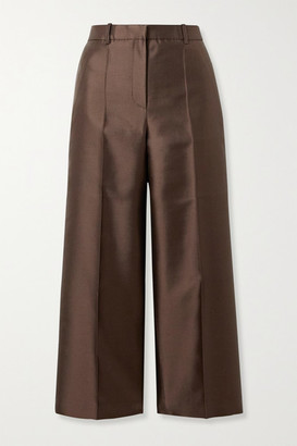 Givenchy Cropped Wool And Silk-blend Satin Straight-leg Pants - Chocolate