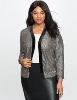 ELOQUII Plus Size Sequin Jacket with Velvet Collar