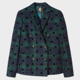 Paul Smith Women's Black Watch Check Double-Breasted Blazer With Spots