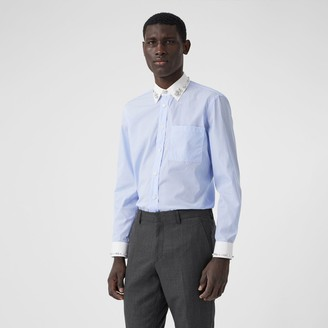 Burberry Classic Fit Embellished Pinstriped Cotton Shirt