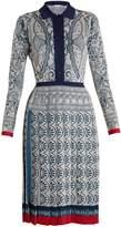 Mary Katrantzou Briscola long-sleeved Cards-intarsia dress