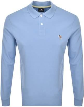 Paul Smith Long Sleeved Polo T Shirt Blue