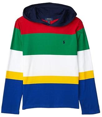 Polo Ralph Lauren Kids Striped Cotton Jersey Hooded Tee (Big Kids) (RL 2000 Red Multi) Boy's Clothing