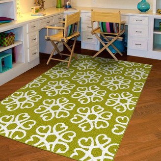 Garland Rugs NXT-GEN Hearts Medallion Olefin Area Rug