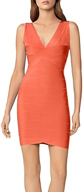 Herve Leger V Neck Bandage Dress