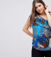 Lovedrobe One Shoulder Paisley Print Frill Blouse
