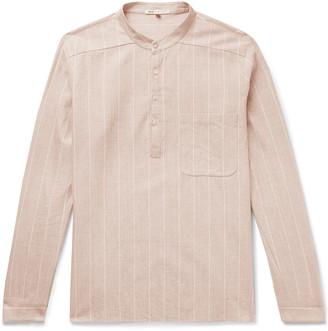 Grandad-Collar Striped Slub Cotton Shirt