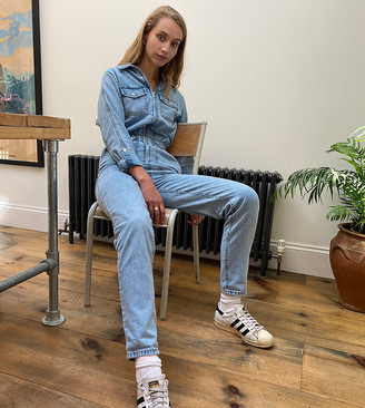 New Look Tall zip front denim jumpsuit in mid blue
