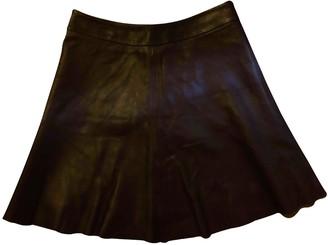 Veda Burgundy Leather Skirt for Women