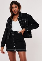 Missguided Black Co Ord Contrast Stitch Button Through Skirt