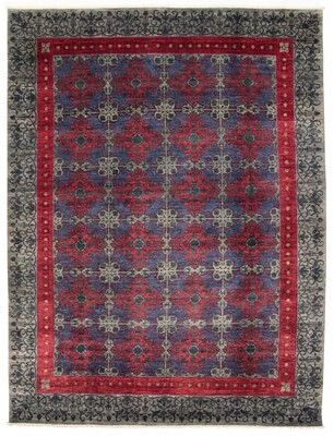 Ecarpetgallery Oriental Hand Knotted Wool Red/Gray/Blue Area Rug