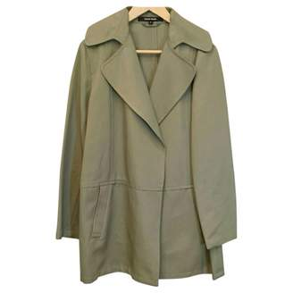 Ellen Tracy Green Cotton Trench Coat for Women