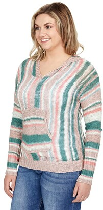 Rock and Roll Cowgirl Long Sleeve Stripe Hoodie with Pouch Pocket 48H8379