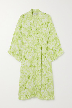 Faithfull The Brand Moselle Ruffled Belted Tie-dyed Crepe Robe - Green