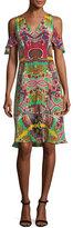 Etro Tropical Paisley Cold-Shoulder Dress