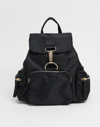 ASOS DESIGN backpack with dog clip detail in black