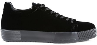 Giorgio Armani Velvet Lace-Up Sneakers