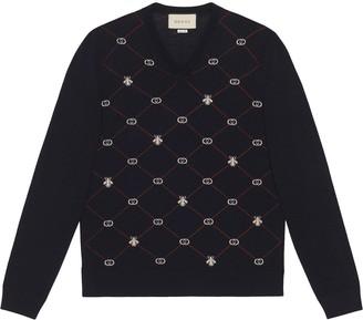 Gucci jacquard-motif V-neck jumper