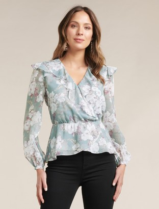 Forever New Sorrento Romantica Blouse - Sheer Ivory Floral - 10