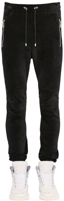Balmain Ribbed Cotton Velvet Sweatpants W/ Zips