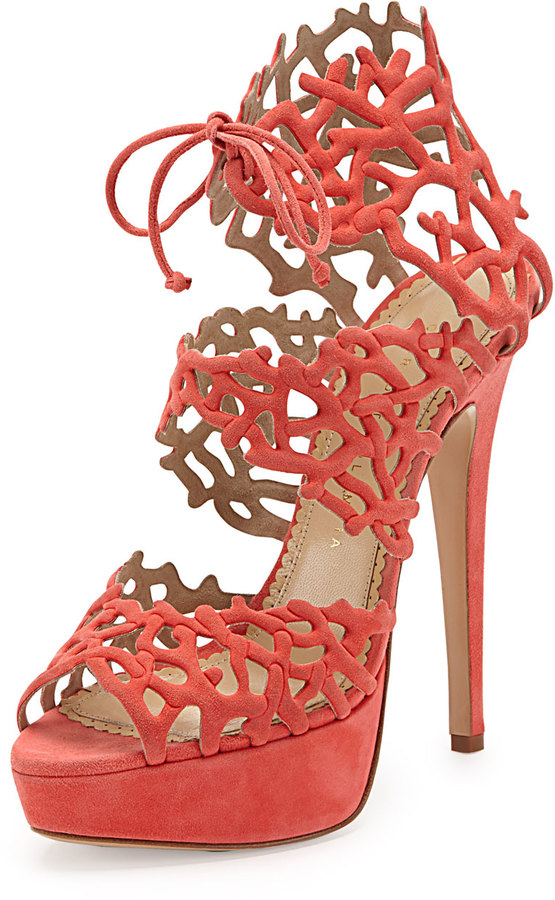 Charlotte Olympia Good Gracious Sandal, Coral