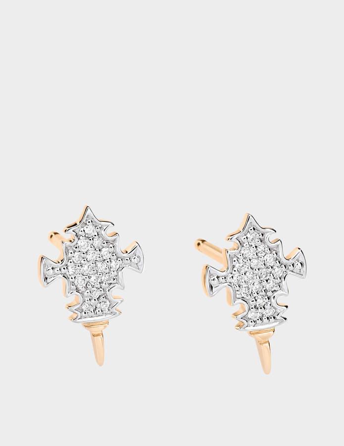 ginette_ny Diamond Tanger 18-karat rose gold studs