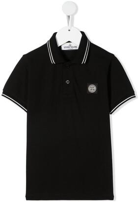 Stone Island Junior Logo-Patch Cotton Polo Shirt