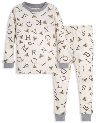 "Burt's Bees Baby Organic Cotton Baby & Toddler Boys or Girls ""A-Bee-C"" Snug Fit Long Sleeve Pajamas, 2pc Set (12M-5T)"