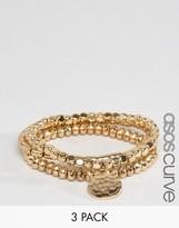 Asos Pack of 3 Gold Stretch Bead Friendship Bracelets