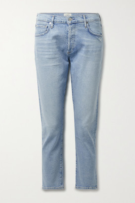 Citizens of Humanity + Net Sustain Emerson Cropped Distressed Organic Mid-rise Straight-leg Jeans - Light denim
