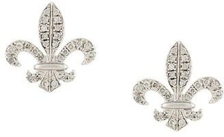 Elise Dray 18kt Gold Fleur-De-Lys Diamond Stud Earrings