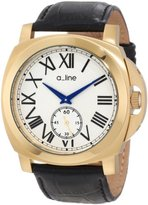 A Line a_line Women's 80007-YG-02-BK Pyar Silver Textured Dial Black Leather Watch