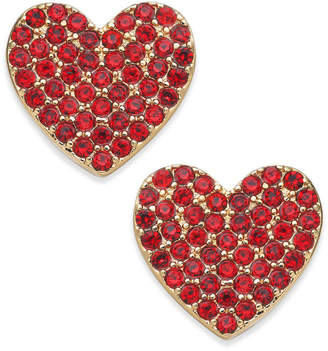 Kate Spade Rose Gold-Tone Pave Heart Stud Earrings