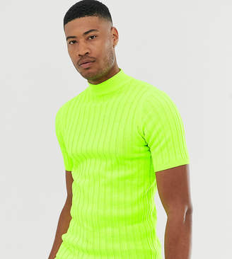 Asos Design DESIGN Tall knitted ribbed turtleneck t-shirt in neon green