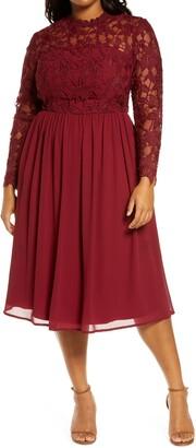Chi Chi London Curve Ella-Louise Lace & Chiffon Long Sleeve Dress