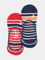 Burton Burton Original Penguin 2 Pack Red And Navy Striped Invisible Socks