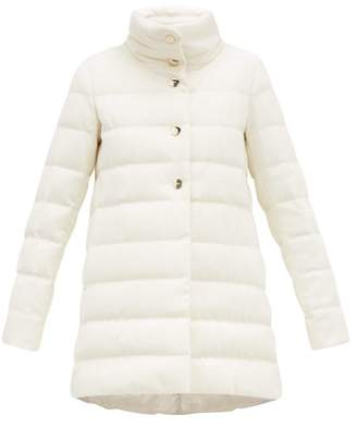 Herno Quilted Silk Blend Down Coat - Womens - White