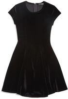 Miss Behave Girls' Flared Velvet Dress - Sizes 8-14